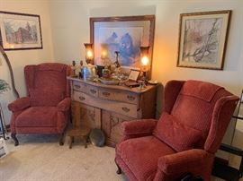 Pair of Matching Recliners and Beautiful Antique Server with Amazing Carving