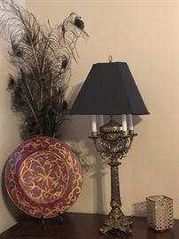 Ornate brass base lamp