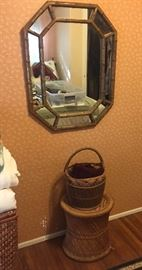 Decor, brass mirror, wicker