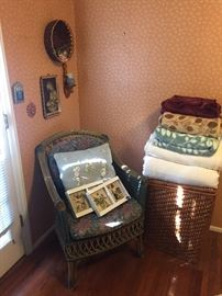 Wicker chair, laundry hamper