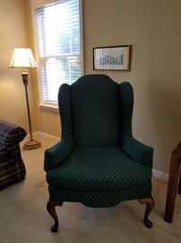 Beautiful wingback chair upholstery is in great condition smoke free pet free home