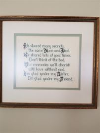 cross stitch framed art