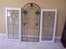 "Stain Glass from their Detroit Home            Dimensions:  White Framed 15"" x 33""                                        Arched is 16"" x 37 1/2"""