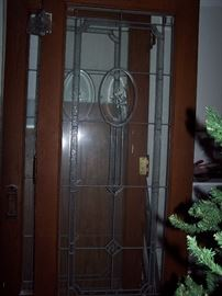 "Stained Glass French Doors from Detroit Home 33 1/2"" x 80"" each"