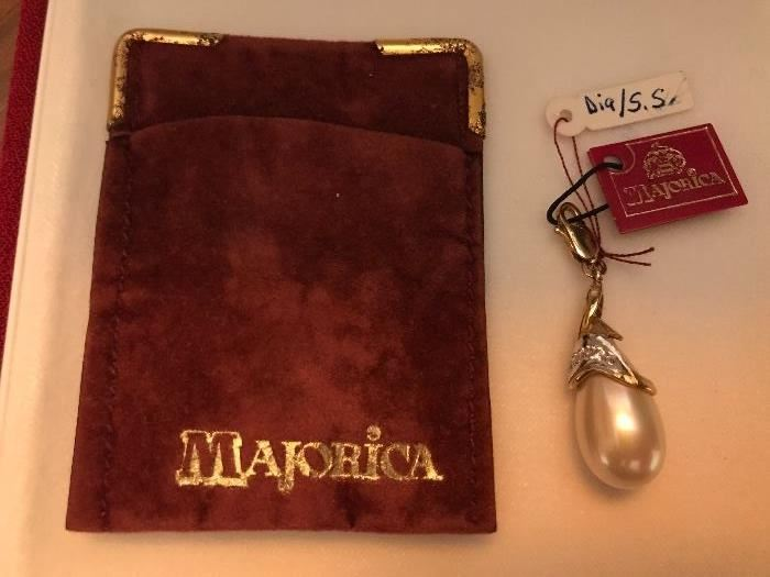 Majorica Sterling  Pearl and Diamond pendent -Valentines day??