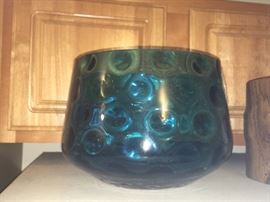 Mid century coin glass punch bowl