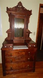 ANTIQUE DRESSER FROM EASTERN EUROPE WITH MARBLE TOP