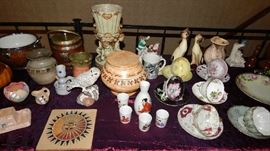 ALL SORTS OF CHATZKYS, POTTERY, CHINA TEA CUPS/SAUCERS