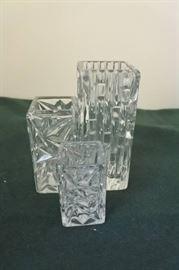 3 Diamond Cut Small Vases
