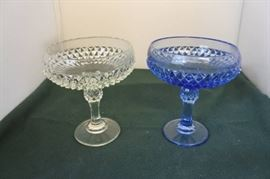 Blue and Clear Diamond Cut Glass Dishes..