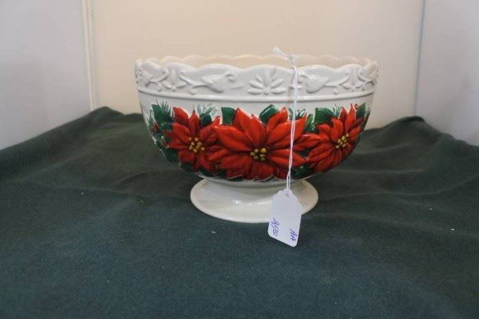 Holiday Poinsettia Serving Bowl