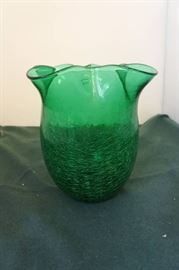 Vintage Green Crackled Glass with Ruffled Rim