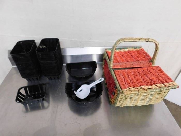 Plastic Baskets and Straw Basket
