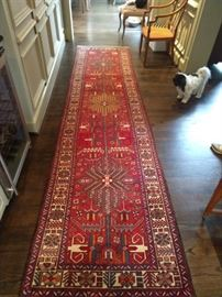 "Vintage hand woven Persian Heriz runner, measures 12' 10"" x 3' 2"".                                                                                           Ankle biter not for sale - I tried, she said ""NO!""                Yes ma'am..."