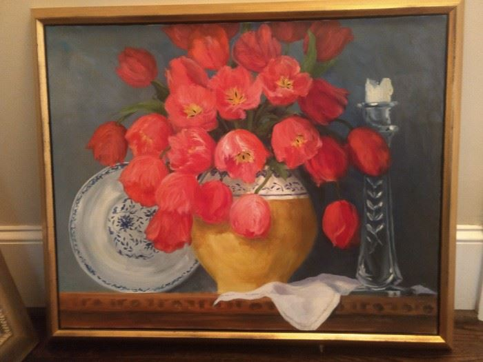 Original still life by Atlanta artist, Ellen Bayley (1935 - 2018).