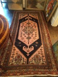 Vintage hand woven Persian Bijar rug, measures 8' x 4'.