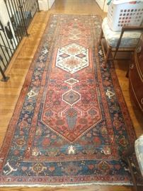 "Vintage hand woven Persian Hamadan runner, measures 12' 4"" x 4' 4""."