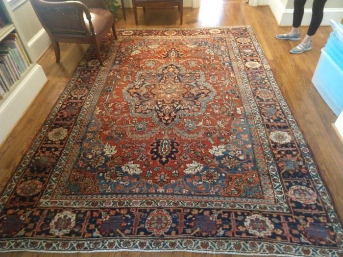"Stunning vintage, hand woven Persian Bakhtiari rug, measures 10' x 7' 4""."