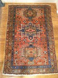 "The cutest little Persian Heriz rug, hand woven, measures 4' 5"" x 2' 11""."