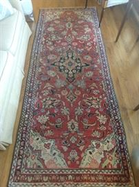 "Vintage hand woven Persian Mahal runner, measures 9' 5"" x 3' 7""."