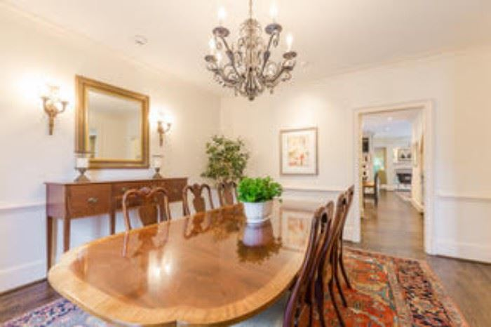 Nicely appointed dining room, with Baker (Historic Charleston Collection) dining room table (2 leaves) with eight chairs.