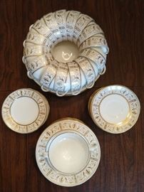 "62-Piece set of Wedgwood ""Gold Grecian"" china."