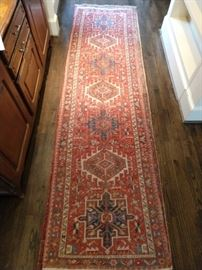 "Vintage hand woven Persian Heriz runner, measures 12' 5"" x 3' 2""."