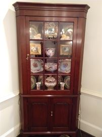 "7'  2"" T x 3.6' W lighted mahogany china cabinet."