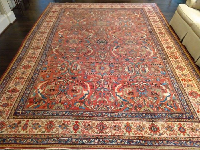 "Stunning vintage all-over pattern Persian Heriz rug, measures 13' 5"" x 10' 8""."