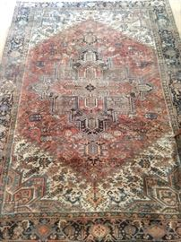 "Yet another gorgeous vintage Persian Heriz rug, hand woven, measures 8' x 10' 4""."