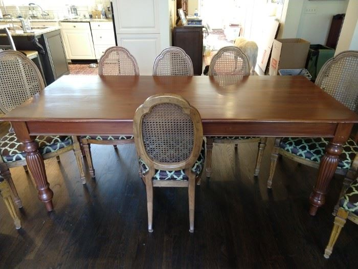 Handsome French Farm table with set/8 vintage wood/cane dining chairs (2 arms, 6 sides).