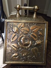 Antique English brass coal hod, with raised floral design, ca. 1860.