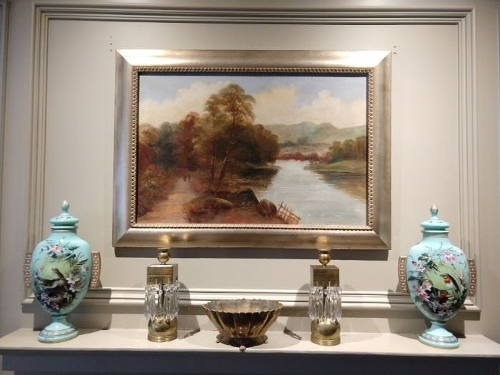 Antique, artist signed oil painting, pair of hand painted blue opaline glass  Continental urns, pair of vintage brass/crystal candlesticks.