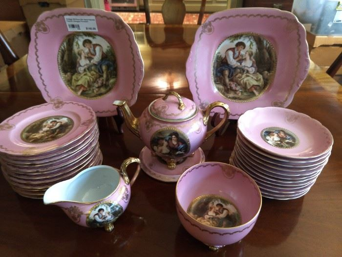 30-piece set of vintage, hand painted Wedgwood dessert set.