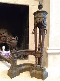 Close-up of the detail and casting quality of the French bronze andirons.