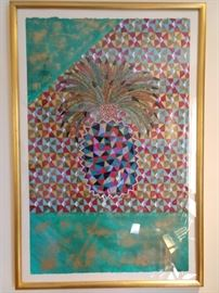 "Fun & happy original pineapple artwork, on paper, signed ""Nielsen""."