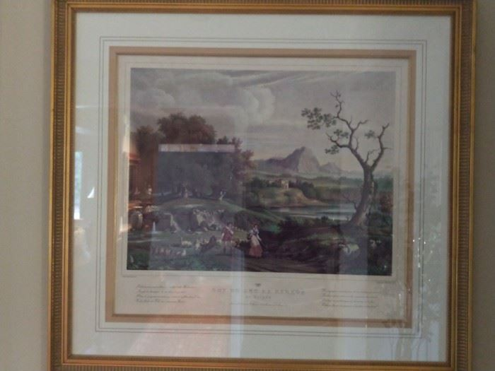 One of a pair of vintage hand colored lithographs, very expensively matted, filleted and framed; this is Basel, Switzerland, ca. 1831.