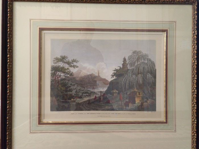 "Beautifully framed/matted/filleted hand colored lithograph ""On the borders of the lake See-Hoo, taken from the Vale of the Tombs"". London April 12, 1796."