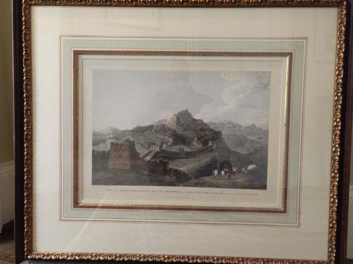 "Beautifully framed/matted/filleted hand colored lithograph ""View of the Great Wall of China, called Van- Lee-Tching, or Wall of Ten Thousand Lee"".                    London April 12, 1796."