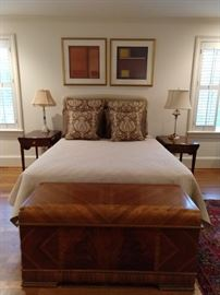 Queen size bed with rarely used Sealy Posturepedic mattresses, pair of Pembroke side tables with satin inlay and cascading bellflowers, vintage Lane cedar chest.