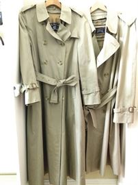 Pair of vintage Burberrys' trench coats.                                     The men's version is size 44 Regular.                                      The women's version is size 10 XL.