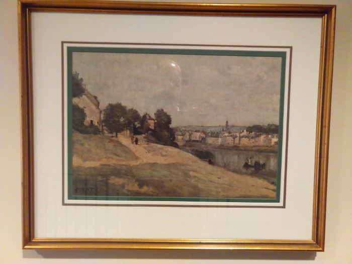 European landscape, nicely framed and matted, by Corot.