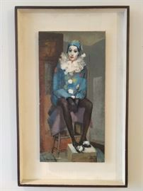 LOVE this MCM original oil on canvas seated female clown art, by Peggy Sams Johnson.