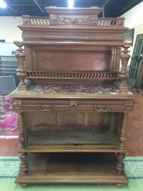 French Marble Top Sideboard Cabinet