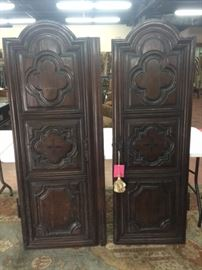 Pr. Early Carved Panel Doors