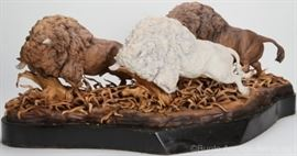 Cybis ltd edition porcelain, Charging Buffaloes