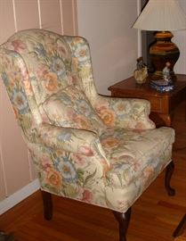 Living room wing-back chair
