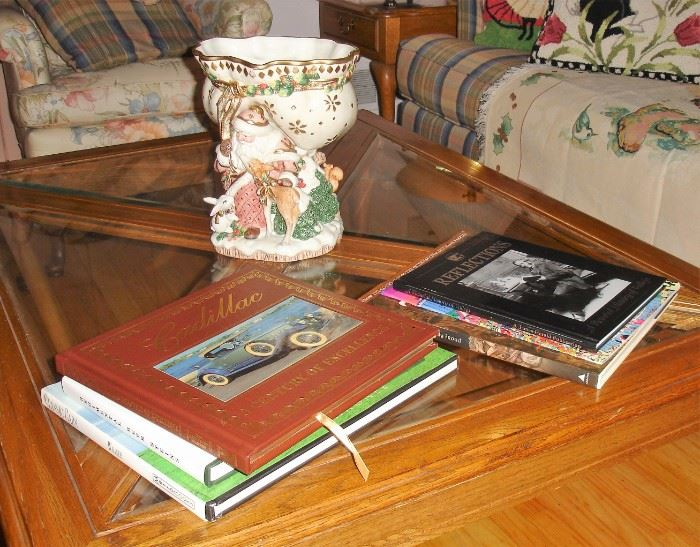 Fitz and Floyd center bowl with coffee table books and cocktail table