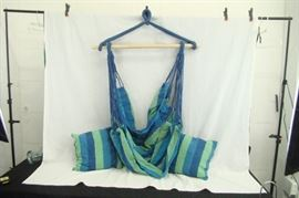 New in Box Cloth Papasan Style Hanging Rope Chair