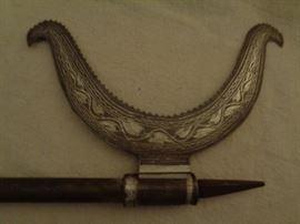 Indo-Persian Tabar Bullova silver inlay battle axe